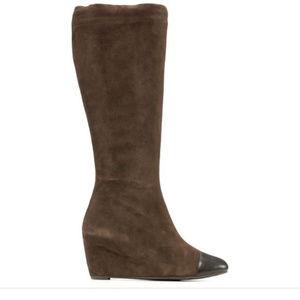 $575 Delman Bloomingdales Wedge Boots Knee High 8